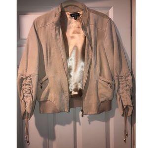 Genuine suede leather zip jacket